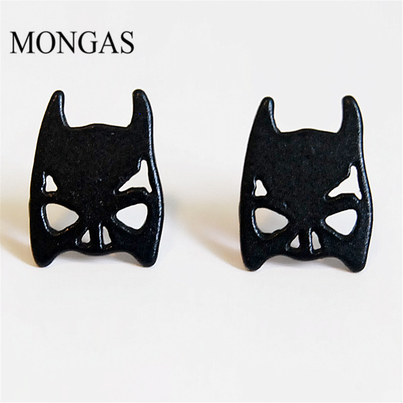 Mongas Custom Fashion Earring Designs New Model Batman Enamel Stud Earrings