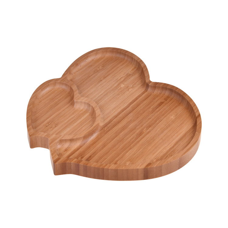 BPA Free Bamboo Wood Unique Heart Contemporary Serving Tray 3