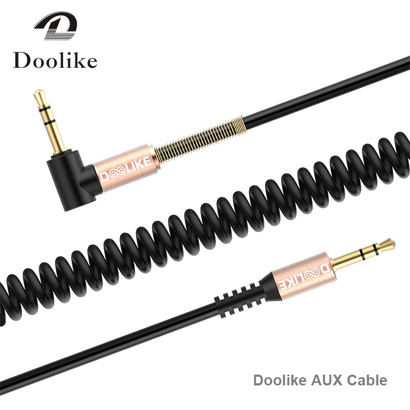 Doolike audio cable cord flat 90 Degree Right Angle Steel Spring 3.5mm aux cable for Headphone , iPad , mobile phone