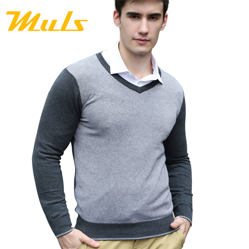 Pullover men MULS brand uomo chompas hombre V-neck stockinette stitch formal mens sweaters polo jumper men's comfortable sweater