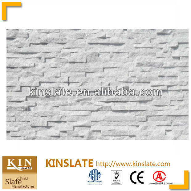 Kinslate Quarry and Factory Supply China Leading Natural Stone Panel Cladding Super White Wall Strip Tiles Quartzite