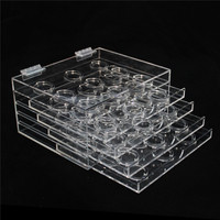 Manufacture 5 Tiers Acrylic Eyelash Display Stand Plastic Artificial Eyelashes Display Holders Natural False Eyelashes Organizer