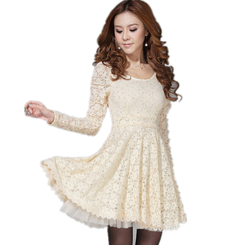 2015 Korean Style Sexy Women Lace Ball Gown Dresses Formal Party Casual LongSleeve Mini Dress Fashion Girl's Clothing