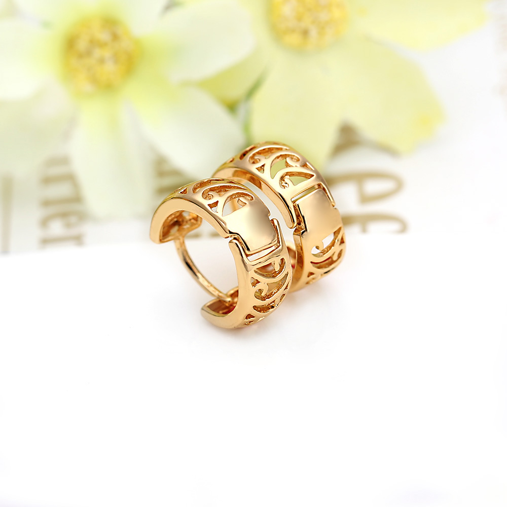 Get Quotations Birthday Valentine Gift 18k Gold Hoop Earrings Hollow Round Wide Brincos De