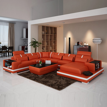 Low Cost Luxury Living Room Storage Furniture U Shape Sofa Bed Set