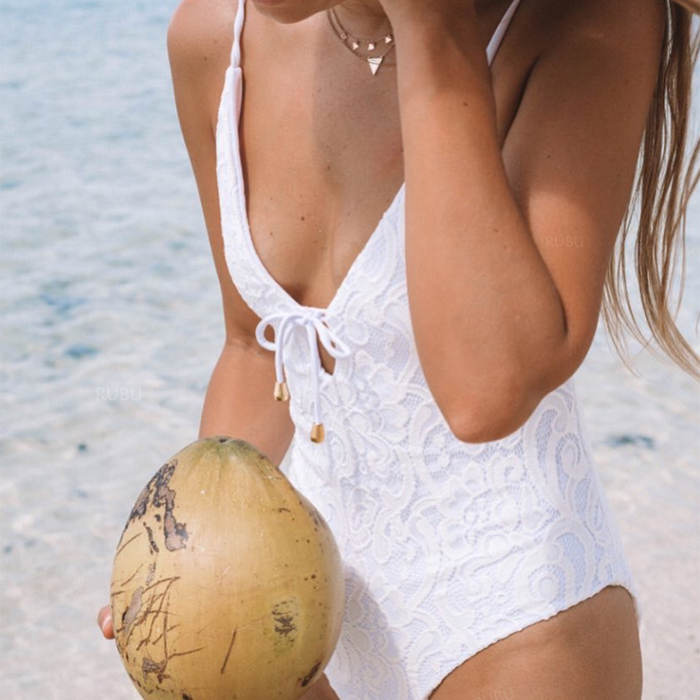 White Lace New classy sexy bikini Swimwear Sexi Full Open Sexy Swimsuit