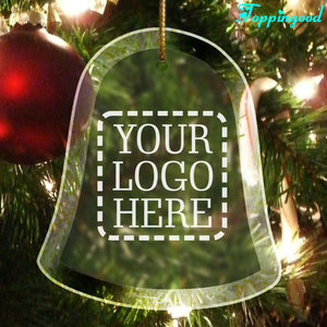 Personalized Blank Bell Shape Glass Christmas Tree Hanging Ornament