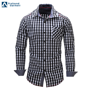 In stock long sleeves latest style check shirts for men