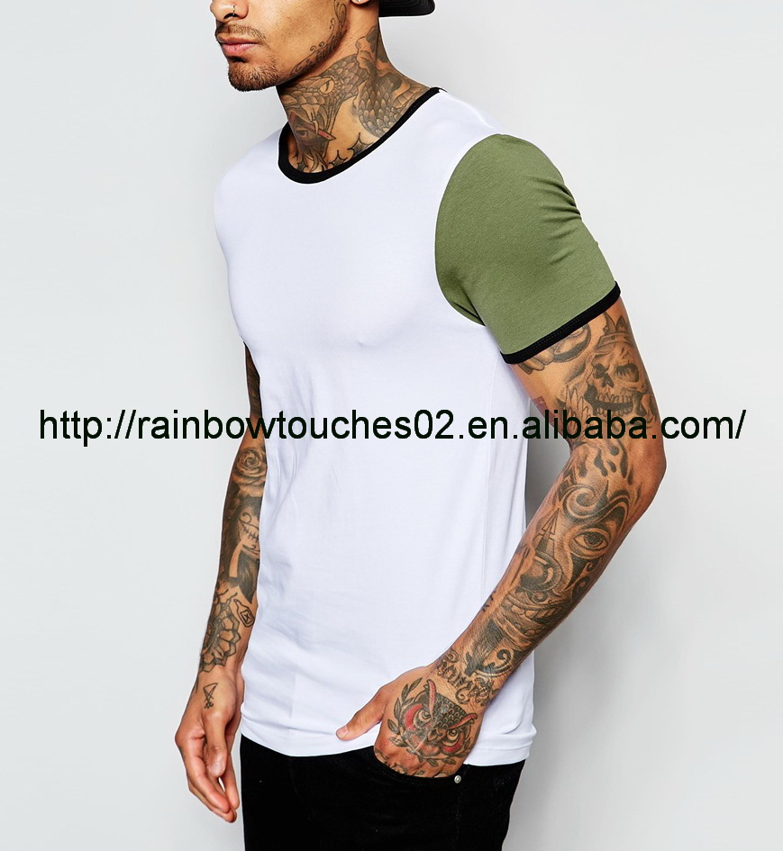 two-tone slim top quality vintage tshirts cotton plain