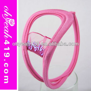 Pink romantic transparent c string for women