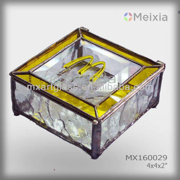 MX160029 Hot tiffany style bevel stained glass jewelry box