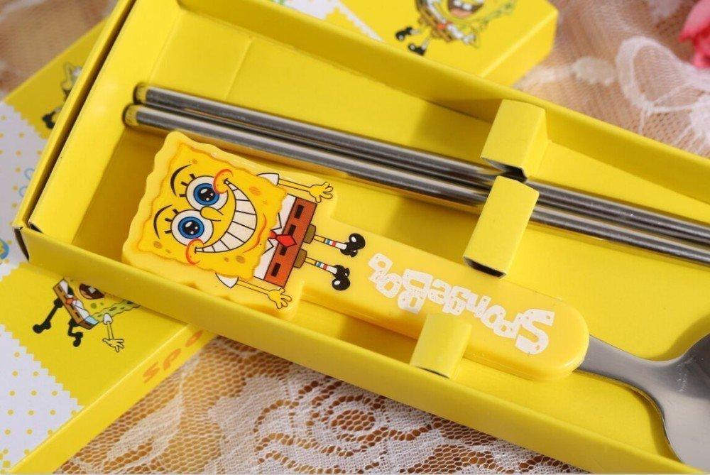 Child Spoon Set with Chopsticks, Sponge Bob Square Pants, Hello Kitty, Winnie the Pooh, A Dream.. Complete Set, Blue, Yellow, Pink Brown (Sponge Bob Square Pants)