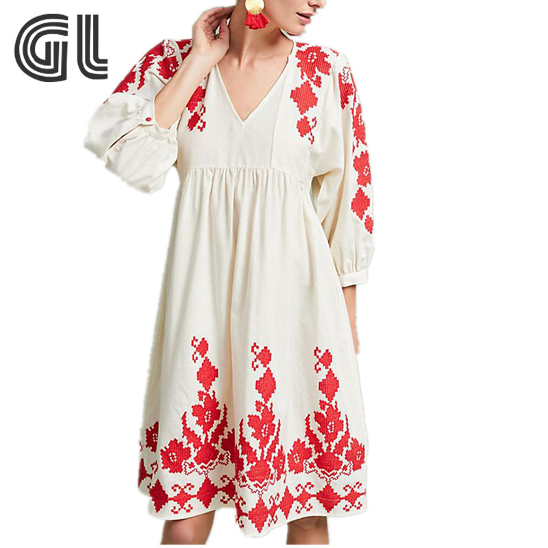 8996d009f 2018 estilo mexicano 3 4 manga bordado campesino vestido de diseñador