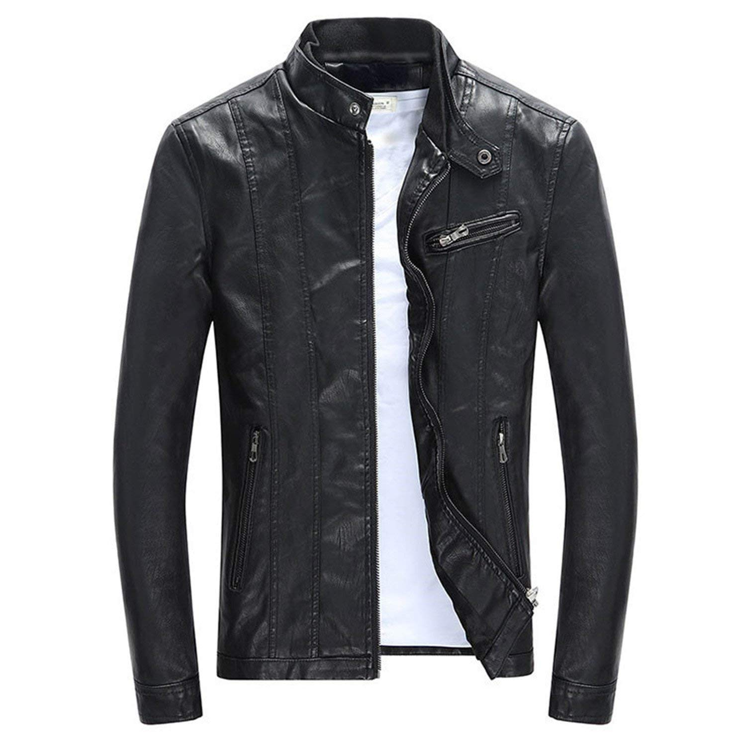 e713542db88 Get Quotations · Joseph Papa Men's PU Jackets Coats Motorcycle Leather  Jackets Men Autumn Spring Leather Clothing Male Casual