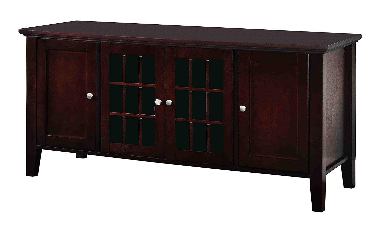 "Pilaster Designs Alexandria 54"" Dark Cherry Wood Transitional Entertainment Center Media Console TV Stand With Glass Cabinet Doors & Storage Shelves"