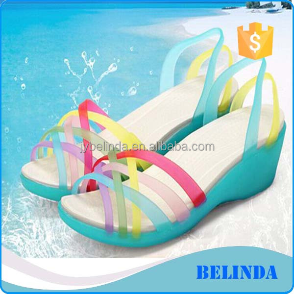 many colors cross straps upper ladies chunky wedge heel summer sandal shoes