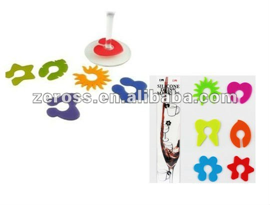Eco-friendly and Practical Promotion Gift 6pcs Silicone Drinking Identifier Silicone Wine Glass Charms