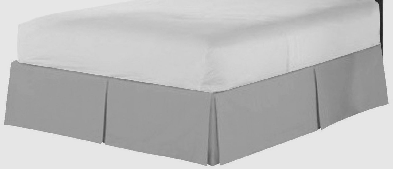 """Best Selling Jenylinen SOLID Pattern 1-PC Split Corner Bed Skirt / Dust Ruffle Full Size ( 54"""" X 75"""" ) Silver Grey Soft Quality Genuine 550-Thread-Count (15"""" Drop Length) 100% Egyptian Cotton"""