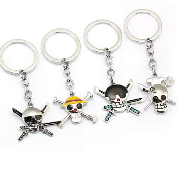 Wholesale Japan Anime One Piece skulls Metal Keychain For Gifts