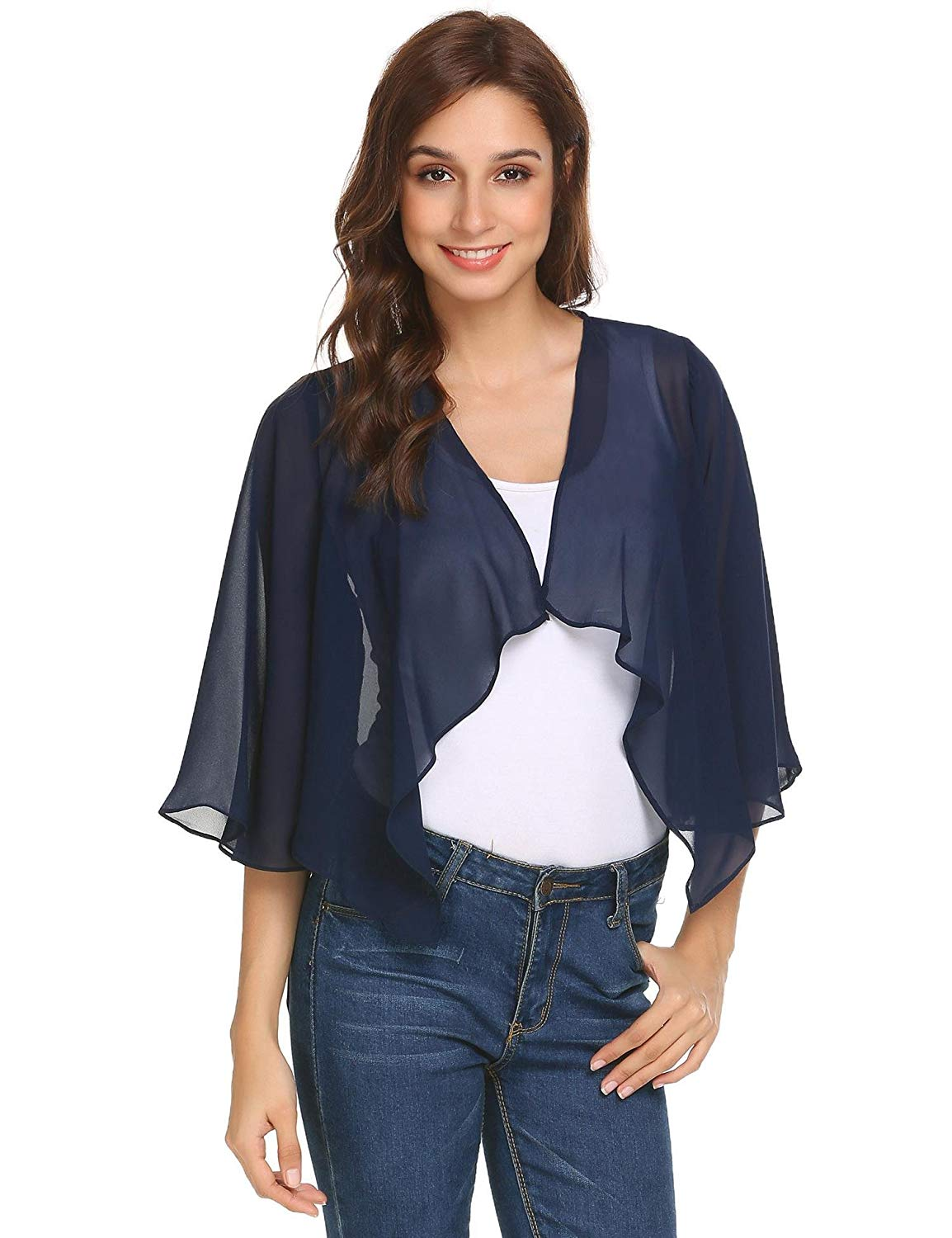 22b594333c2e4 Get Quotations · Pinspark Women s Sheer Bolero Shrug Shawl Chiffon Thin  Cardigan