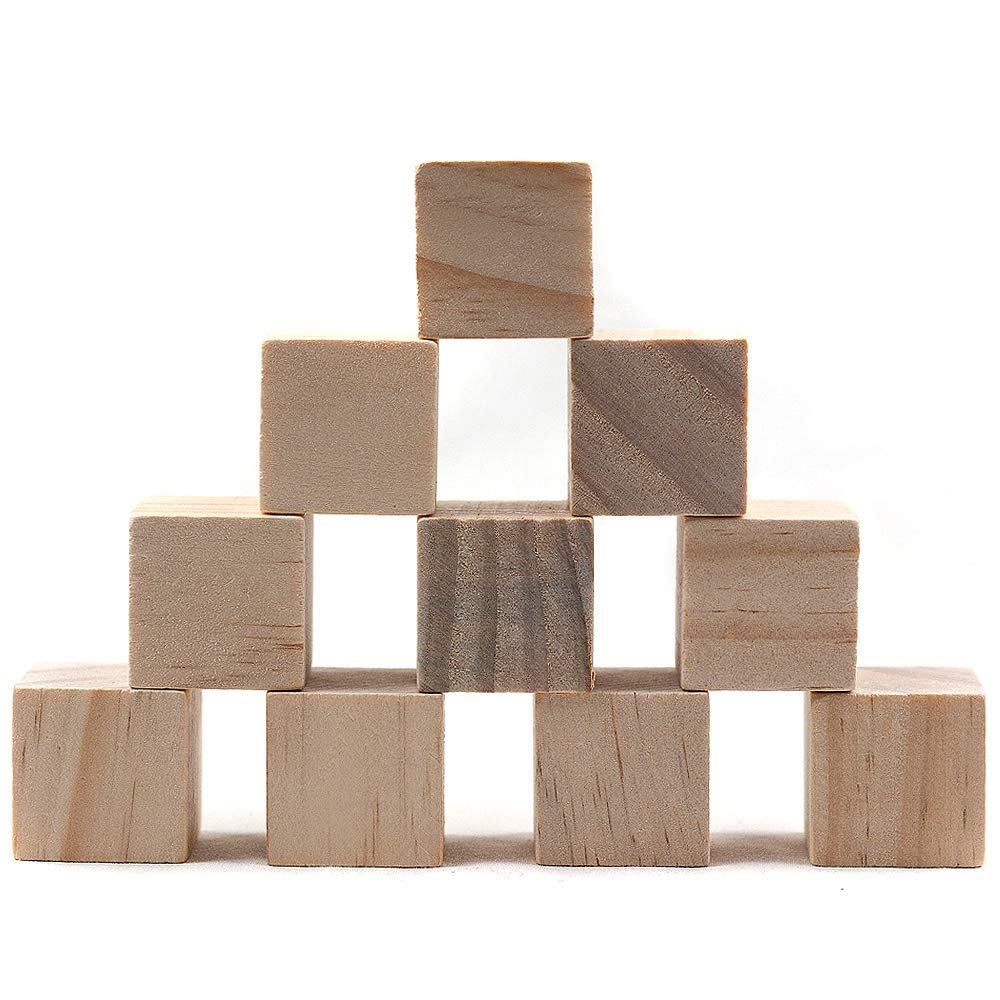 Kansoo 60Pcs 1.18 Inch Wood Cubes, Natural Unfinished Craft Wood Block Crafts & DIY Projects Puzzle Making- by Craftparts Direct