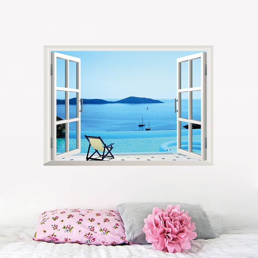 Aliexpress Com Buy 5 Panels Dusk Sunset Boat Printed: Calm Sea Boat Beach 3D Window View Scenery Removable PVC