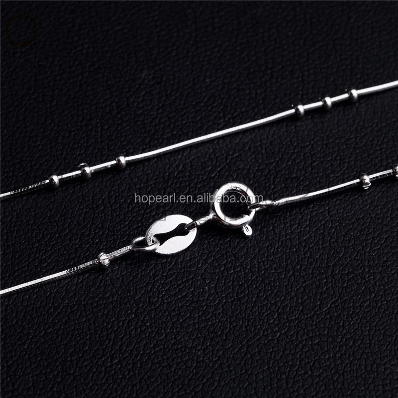 SSN227  925 Sterling Silver Snake Chain with Silver Beads Jewelry Necklace Chains for women girls