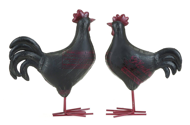 Benzara Adorable Garden Rooster Set, Heavy Polystone