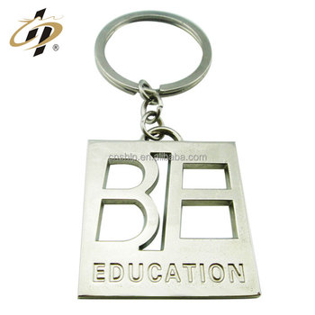 Cheap custom shaped hollow out engraved logo metal name keychain