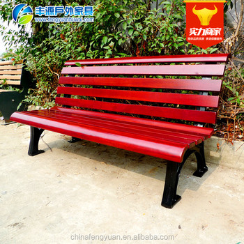 Camphor Wood Cast Aluminum Decking Patio Bench