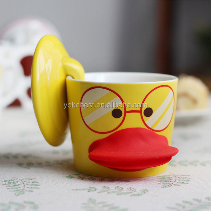 UCHOME New Popular Promotional Gift Cute Design Eco-friendly 3d Cartoon Animal Duck Ceramic Mug
