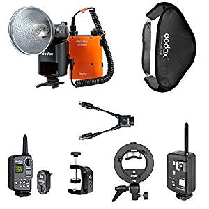 Godox Witstro AD360 Flash Speedlite with 4500mAh PB960 Power Battery Pack Big Kit,Includes:(1)Godox Ad360 Flash Kit+(1)AD360 Trigger FT-16+(1)Nikon Cells Ittl 1/8000 High Speed Trigger+(1)AD360 Bowen S-type Mount+(1)AD360 60*60cm Softbox+(1)PB960 Q-type Bracket+(1)PB960 DB-02 Cable,Reduce Half