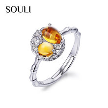 Fashion 925 Sterling Silver Gemstone Rings New Model Adjustable Zircon Wedding Ring