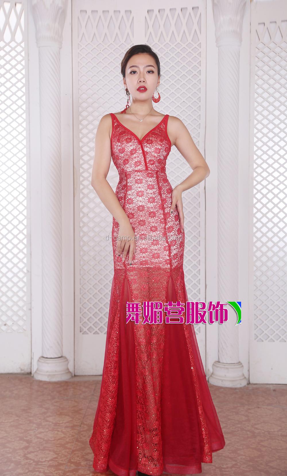 Xll170709 Suzhou Fábrica Barato Encaje Rojo Sirena Baile Vestidos ...