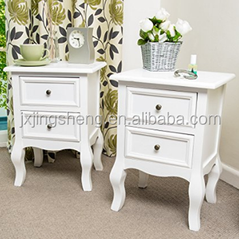 Indian Furniture Set Of Two Small Traditional Style Wood Bedside Table In Antique White