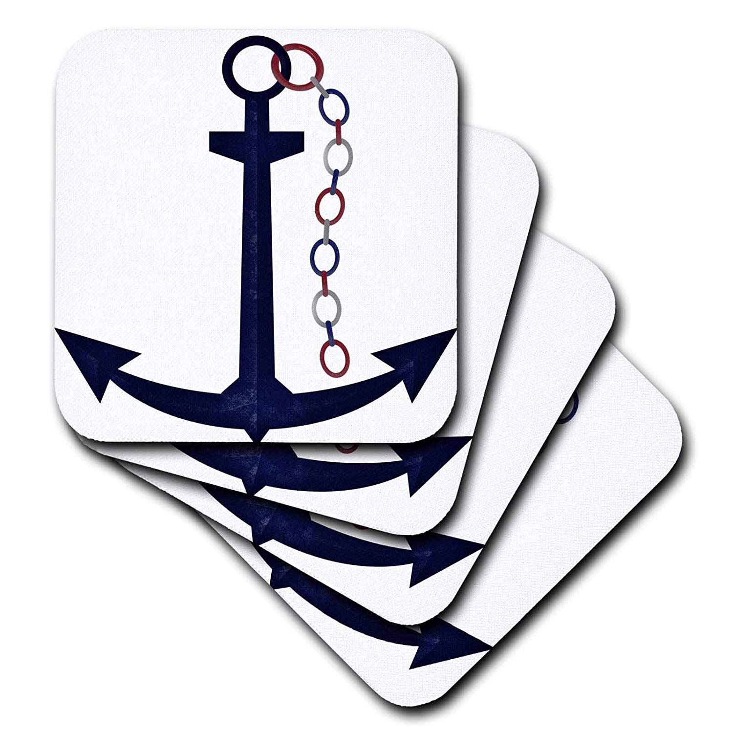 3dRose Cute Blue Sail Boat Anchor with Red, White, Blue Chain - Soft Coasters, Set of 8 (CST_222621_2)