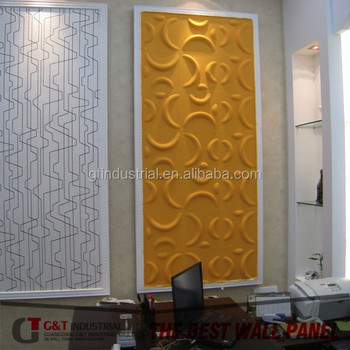 Fashionable Design Golden Color 3d Office Wall Panel, 3d Texture Interior Wall  Panels For Office