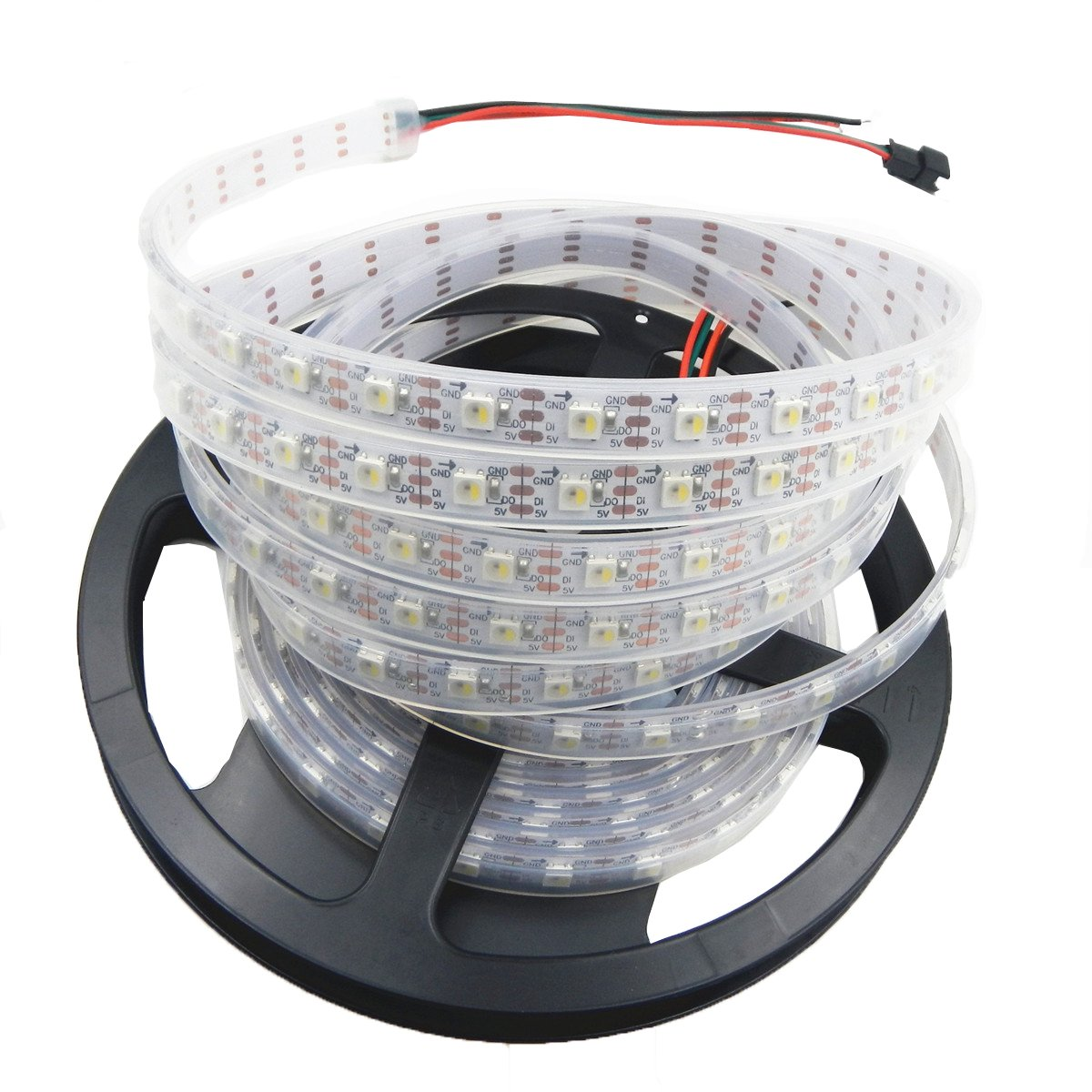 Visdoll 16.4Ft ( 5M) SK6812 IC (Upgraded of WS2812B) 300 Pixels 5050 RGB+White Individually Addressable LED Strip Light Waterproof 60Leds/M DC 5V RGBW Ribbon Light (White PCB)