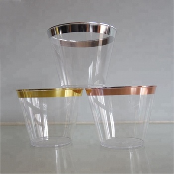 81635df78d3d Amazon Hot Selling 9 oz Gold Rimmed Clear Plastic Tumblers Plastic Cups  Fancy Disposable Wedding Cups