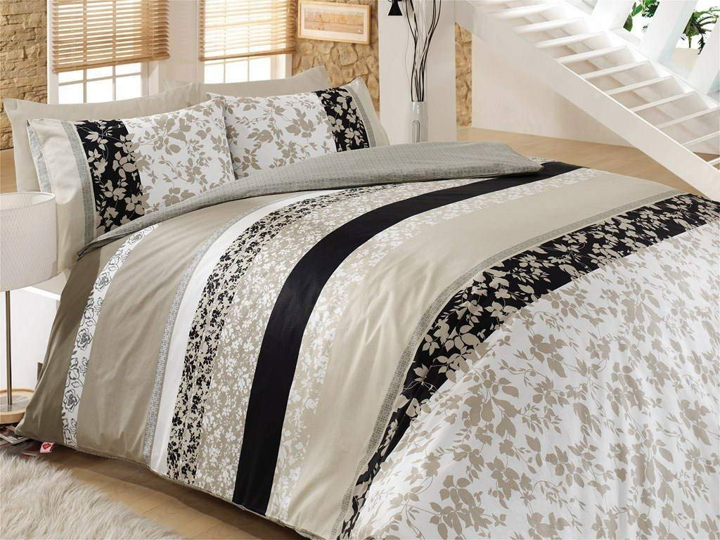 LaModaHome 3 Pcs Luxury Soft Colored Full and Double Bedroom Bedding 100% Cotton Ranforce Double Quilt Duvet Cover Set Flower Leaf Cream Black Straight Line White Background