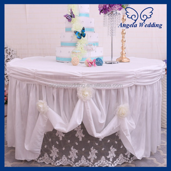 CL008B Nice Elegant Round Ruffled Lace Flower Crystal Trim Fancy Wedding  White Cake Tablecloths
