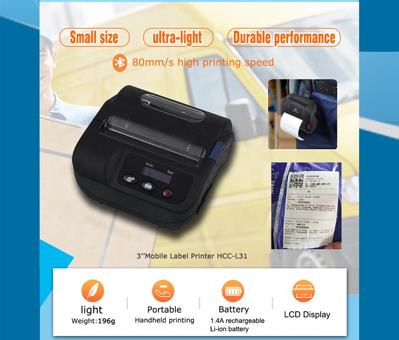 "LCD Buzzer Mobile Android 4"" 112mm Bluetooth Thermal Label Printer HCC-L51"