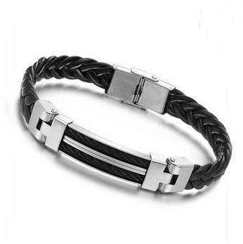 Мужчин мужчин женщин черная кожа трикотажные браслет из нержавеющей стали для женщин дружок подарок pulseiras де couro Masculina homen