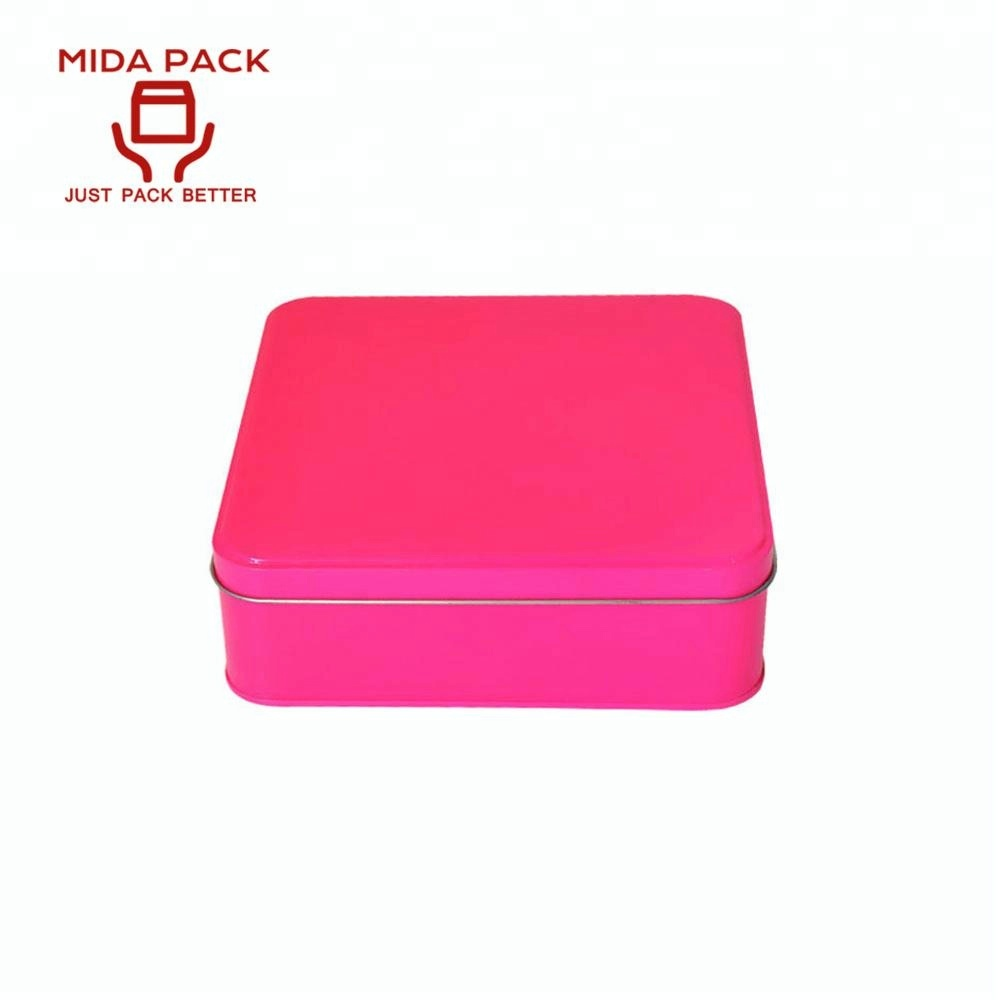 Fancy plain pink jewelry watch tin box for jewelry