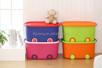 Heavy Duty Plastic Toy Storage Box With Wheel ,PP High Quality Storage Box  With Lid