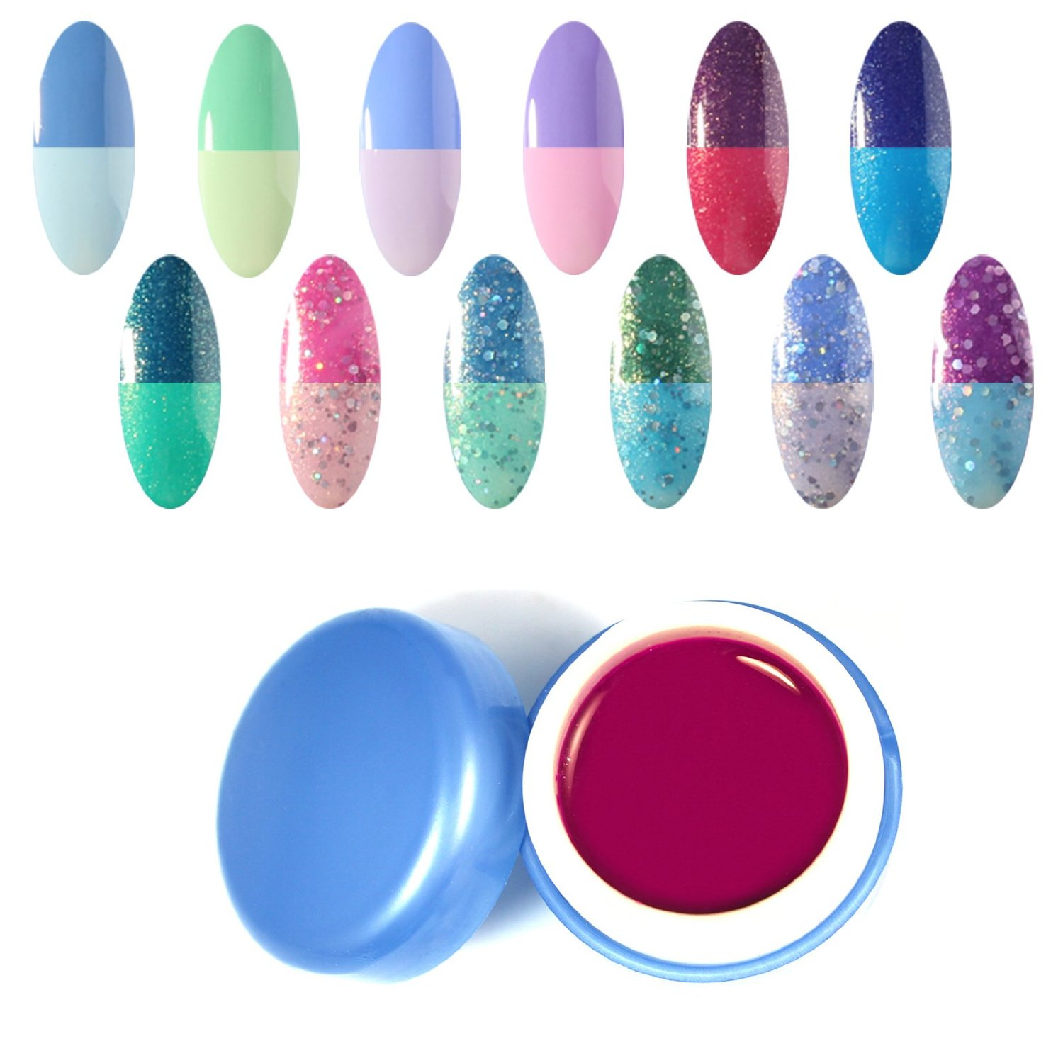 Perfect Summer New Best 12pcs 6ml Chameleon Temperature Change Colors Nail Lacquers Varnish Soak Off Led UV Gel Polish Mood Changing Salon Starter Kits #32