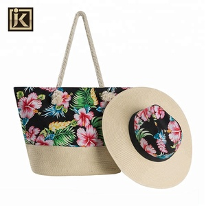 JAKIJAYI Wholesale Summer Straw Hat +Tote Handbag Shoulder Beach Bag Set