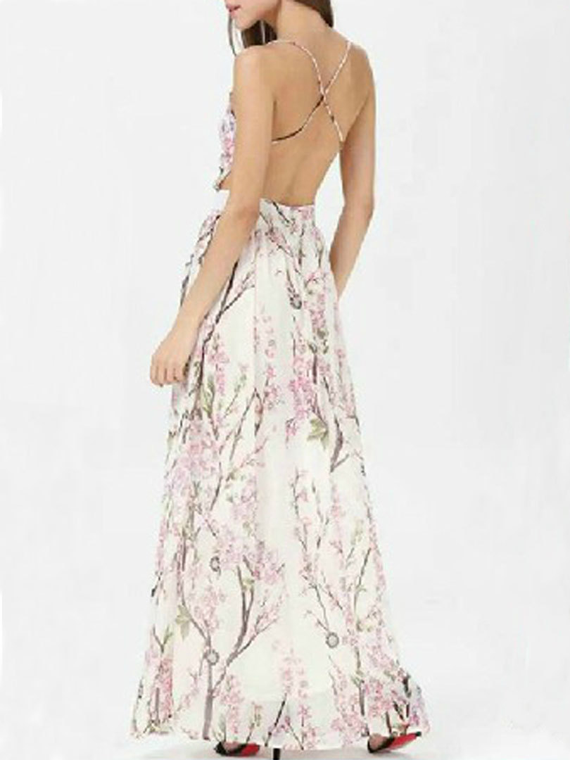 7d280acd746 Get Quotations · Women White Sleeveless Skura Floral Graphic Prints  Spaghetti Strap Backless Sexy Casual Party Maxi Dress 2015
