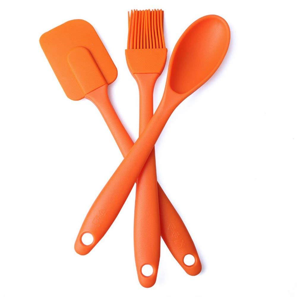 3Pcs Baking Tool Set BYBYCD Premium Silicone Baking Utensils Set–Spatula, Brush, Spoon, Baking Utensil Tool Set Ideal for Mixing, Baking & Cooking/Non-Stick Silicone Kitchen Utensils