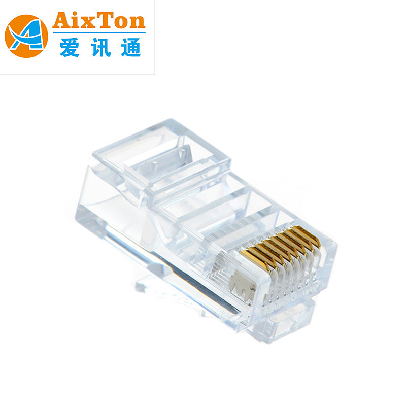 Wholesale Crimp Rj11 Rj45 8P8C Connector Ethernet Male To /Female Gold Plated Crystal Head Mocular Plug Cat5E Cat6 Cat7 Unshided